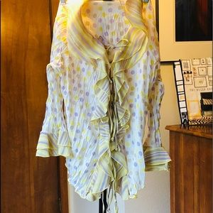 Blouse yellow and periwinkle